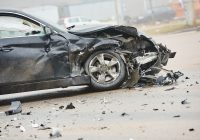 severe car damage from auto accident