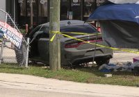 Dodge Challenger wrecked into a tent